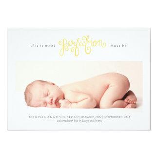 Sein muss Perfektions-Geburts-Mitteilung - Gelb 12,7 X 17,8 Cm Einladungskarte
