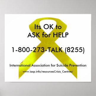 Selbstmord-Bewusstseins-Hilfsplakat Poster