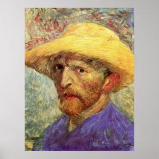 Selbstporträt mit Strohhut durch Vincent van Gogh Poster