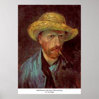 Selbstporträt mit Strohhut und Rohr durch Van Gogh Poster