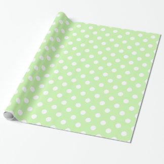 Sellerie-grünes weißes großes Tupfen-Extramuster Geschenkpapier
