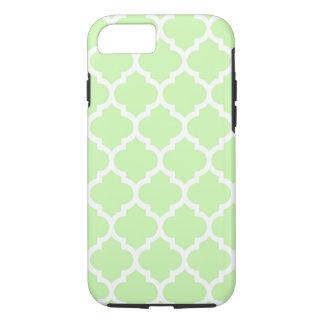 Sellerie-grünes weißes Marokkaner Quatrefoil iPhone 8/7 Hülle