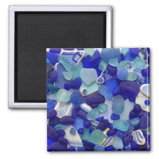 Seltenes Blau- und Aquaseeglas, Strandmagnet Quadratischer Magnet