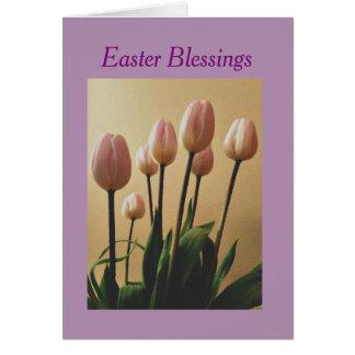Senden Sie Ostern-Segen mit Tulpen Karte