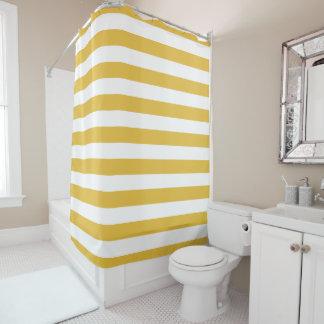 Senf und weißer gestreifter Duschvorhang