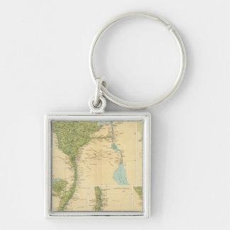 Senken Sie Ägypten Silberfarbener Quadratischer Schlüsselanhänger