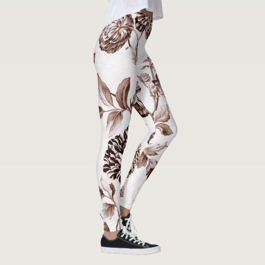 Sepia Brown Vintages BlumenToile No.2 Leggings