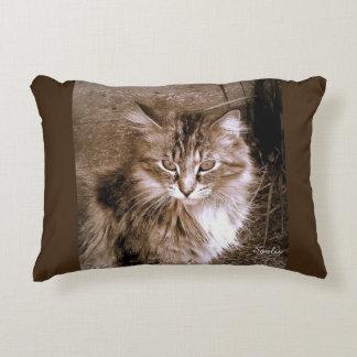 Sepia-Maine-Waschbär-Katzen-Wurfs-Kissen Zierkissen
