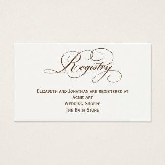 Sepia-Skript-Hochzeits-Register-Informations-Karte Visitenkarte