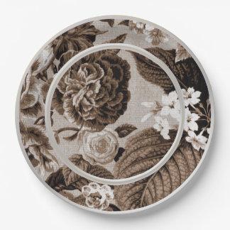 Sepia-Ton Brown BlumenToile No.1 Pappteller 22,9 Cm