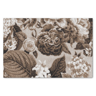 Sepia-Ton Brown Vintages BlumenToile No.1 Seidenpapier