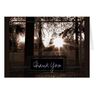 Sepia Toone Sonnenuntergang-Hochzeit danken Ihnen Mitteilungskarte