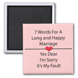 Sept mots pour un long et heureux mariage magnet carré