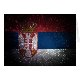 Serbien-Flaggen-Feuerwerk Karte
