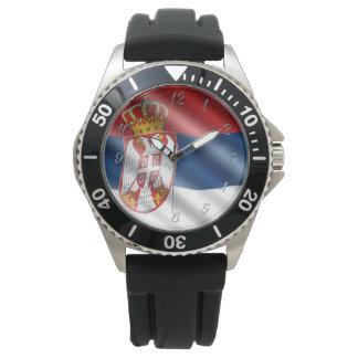 Serbische Flagge Uhr