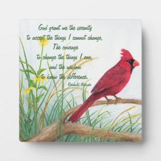 Serenity-Gebet - helle rote Kardinals-Plakette Fotoplatte