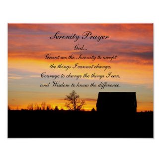 Serenity-Gebets-Sonnenuntergang-Silhouette Poster