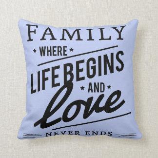 Serenityblaue Throwkissen Familien-Liebe Kissen