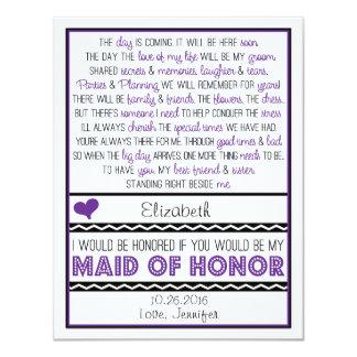 Serez-vous ma domestique d'honneur ? Poème Carton D'invitation 10,79 Cm X 13,97 Cm