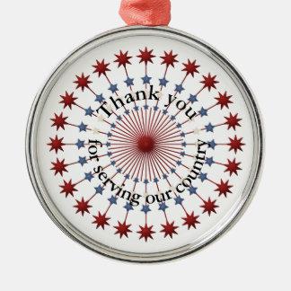 Service zu Amerika-Dank, zu den roten weißen u. Silbernes Ornament