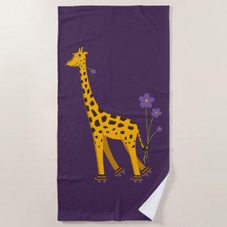 Serviette De Plage Girafe de patinage drôle mignonne de bande