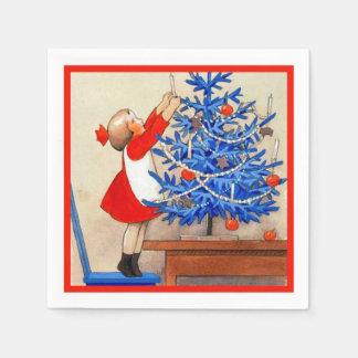 Serviette En Papier Fille avec l'arbre de Noël bleu