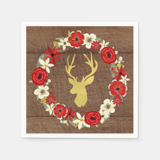 Serviette En Papier Serviette florale de Noël de guirlande de cerfs