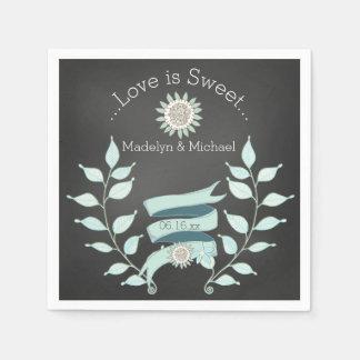 Serviette En Papier Serviettes de papier de mariage floral bleu de