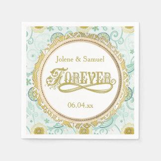 Serviette En Papier Serviettes de papier de mariage floral pour