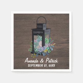 Serviette En Papier Serviettes rustiques de mariage de lanterne de
