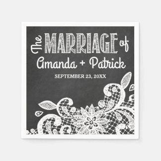 Serviette En Papier Serviettes rustiques de tableau et de mariage de