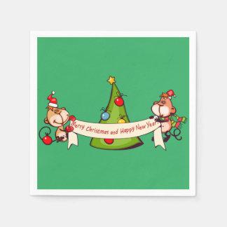 Serviette En Papier Singes de Joyeux Noël et de bonne année