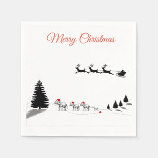 Serviette Jetable Éléphant de Noël dans les serviettes neigeuses de