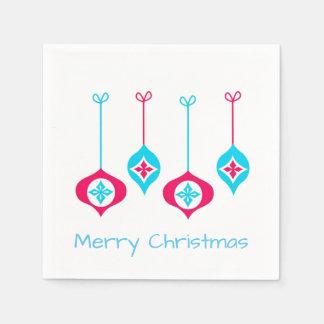 Serviette Jetable Ornements bleus et rouges de Noël