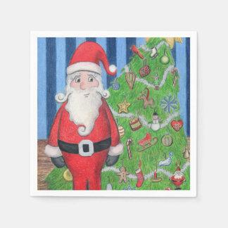 Serviette Jetable Père Noël et arbre de Noël