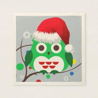 Serviette Jetable Tendance de hibou de Noël