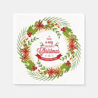 Serviettes En Papier Guirlande de Noël avec le gui