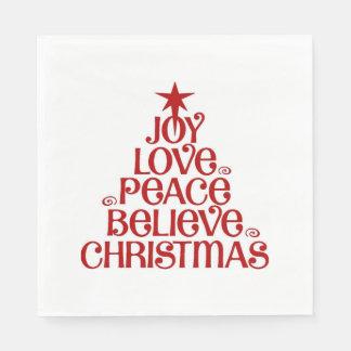 Serviettes En Papier La joie croient des serviettes de Noël