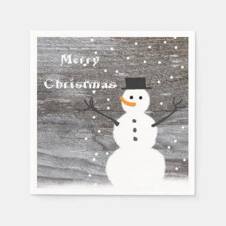 Serviettes En Papier Noël de bonhomme de neige rustique mignon de