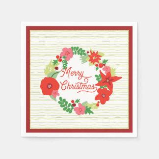 Serviettes En Papier Serviettes de Flora de Noël de guirlande