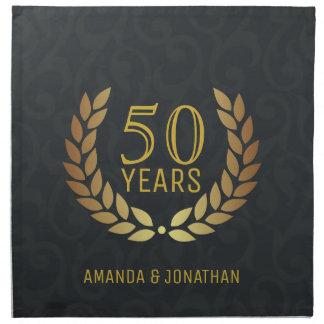 Serviettes En Tissus cinquantième Anniversaire de mariage d'or