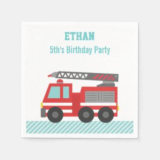 Serviettes Jetables Fête d'anniversaire rouge de camion de pompiers