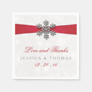 Serviettes Jetables Flocon de neige de Diamante et mariage rouge