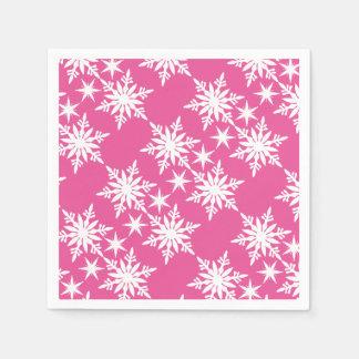 Serviettes Jetables Flocon de neige rose de Noël