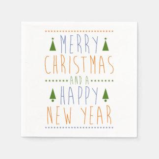 Serviettes Jetables Joyeux Noël et une bonne année