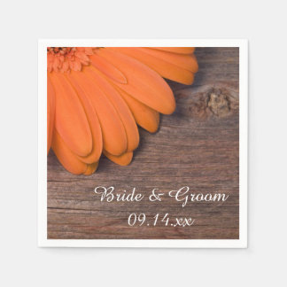 Serviettes Jetables Mariage campagnard rustique de marguerite orange