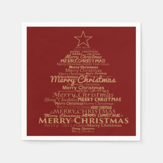 Serviettes Jetables Noël rouge d'or de serviettes de papier