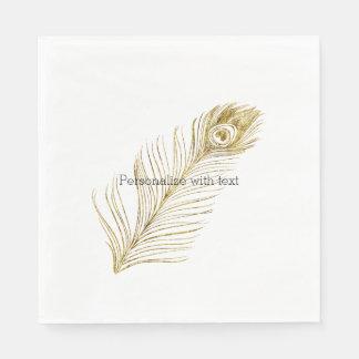 Serviettes Jetables Plume fascinante de paon d'or