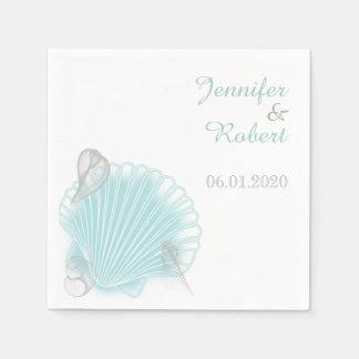 Serviettes Jetables Serviette bleue de mariage de plage de coquillage