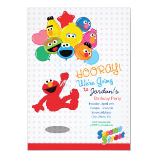 Sesame Street | Elmo et copains - ballons Carton D'invitation 11,43 Cm X 15,87 Cm